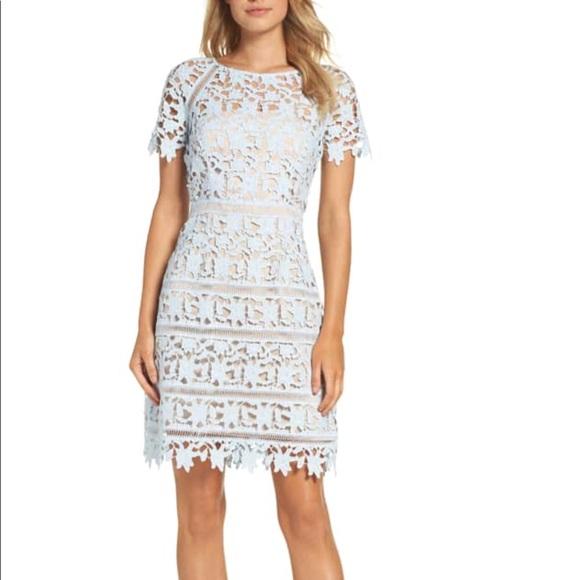 897d1735a Eliza J Dresses | Nwt Blue Lace Dress With Nude Slip | Poshmark